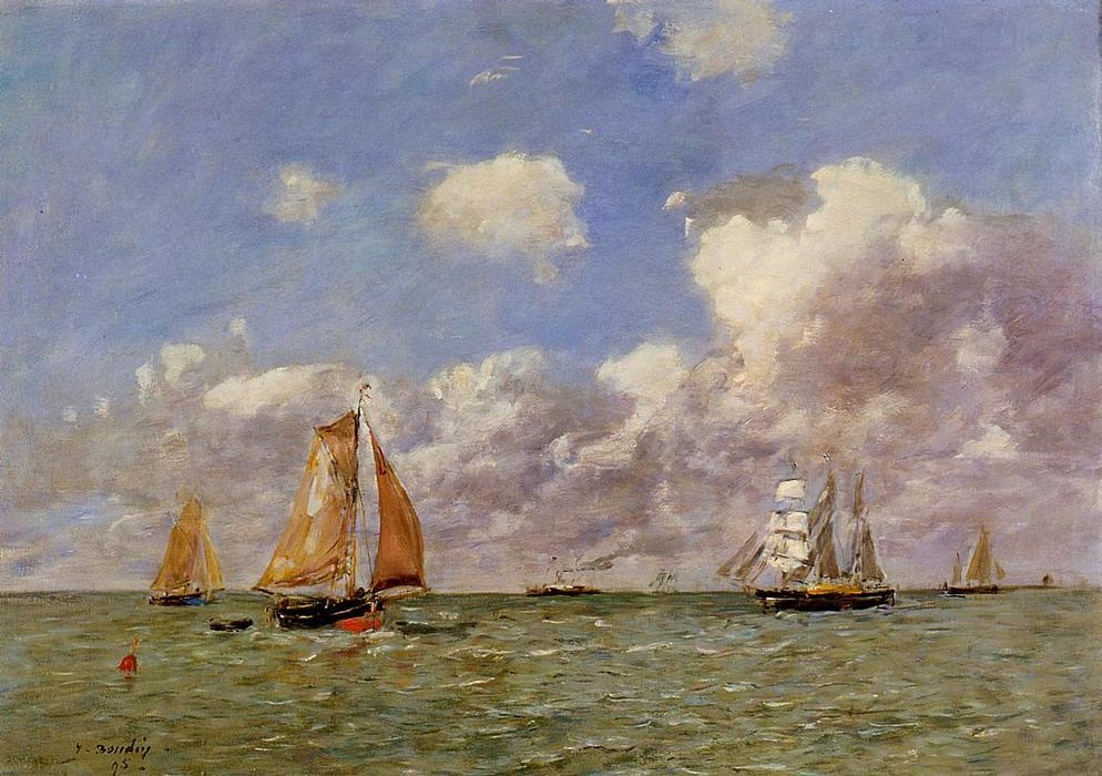 famous painting Fishing Boats at Sea of Eugène Louis Boudin