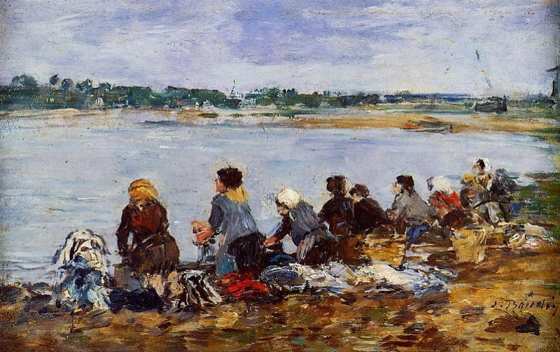 famous painting Laundresses on the Banks of the Touques (8) of Eugène Louis Boudin