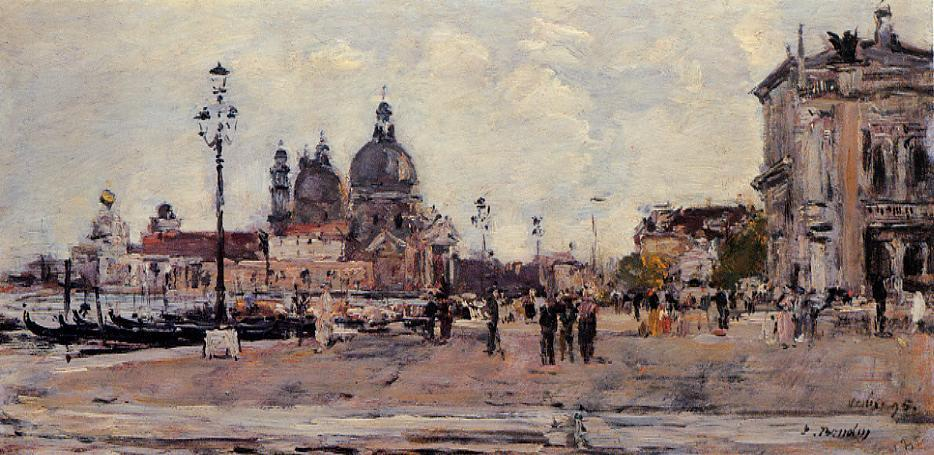 famous painting Pier in Venice of Eugène Louis Boudin