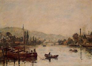 Eugène Louis Boudin - Rouen, the Santa-Catherine Coast, Morning Mist