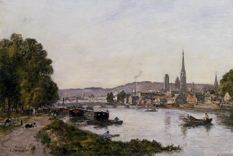 famous painting Rouen, View over the River Seine of Eugène Louis Boudin