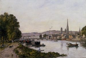 Eugène Louis Boudin - Rouen, View over the River Seine