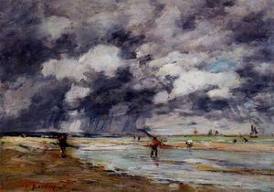Eugène Louis Boudin - Shore at Low Tide, Rainy Weather, near Trouville