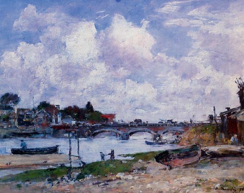 famous painting The Bridge over the Toques at Deauville of Eugène Louis Boudin