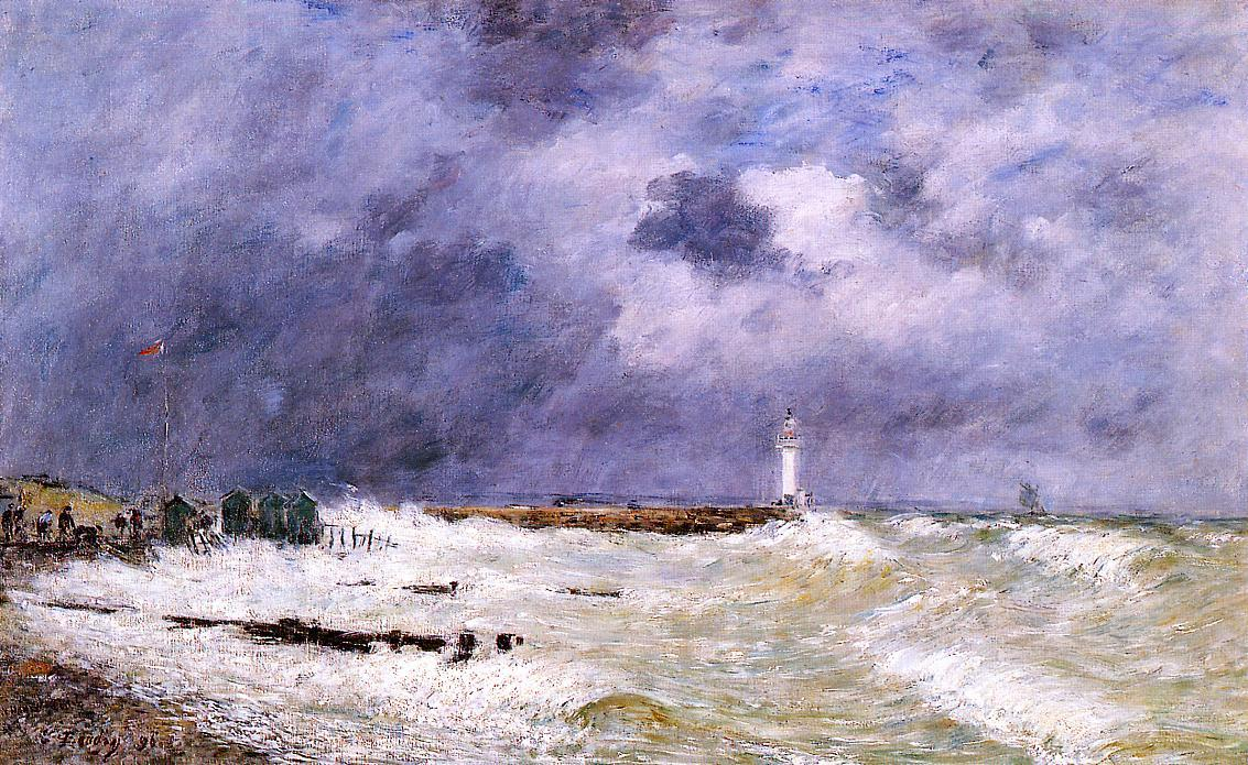 famous painting Le Havre. Heavy Winds off of Frascati. of Eugène Louis Boudin