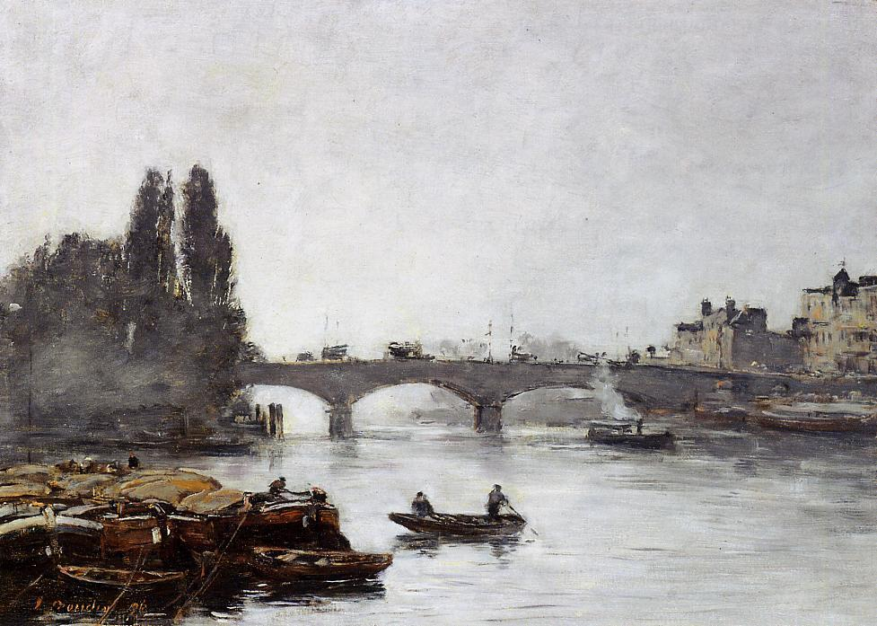 famous painting Rouen, the Pont Corneille, Fog Effect of Eugène Louis Boudin