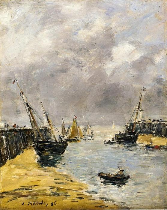 famous painting The Jetties, Low Tide, Trouville of Eugène Louis Boudin