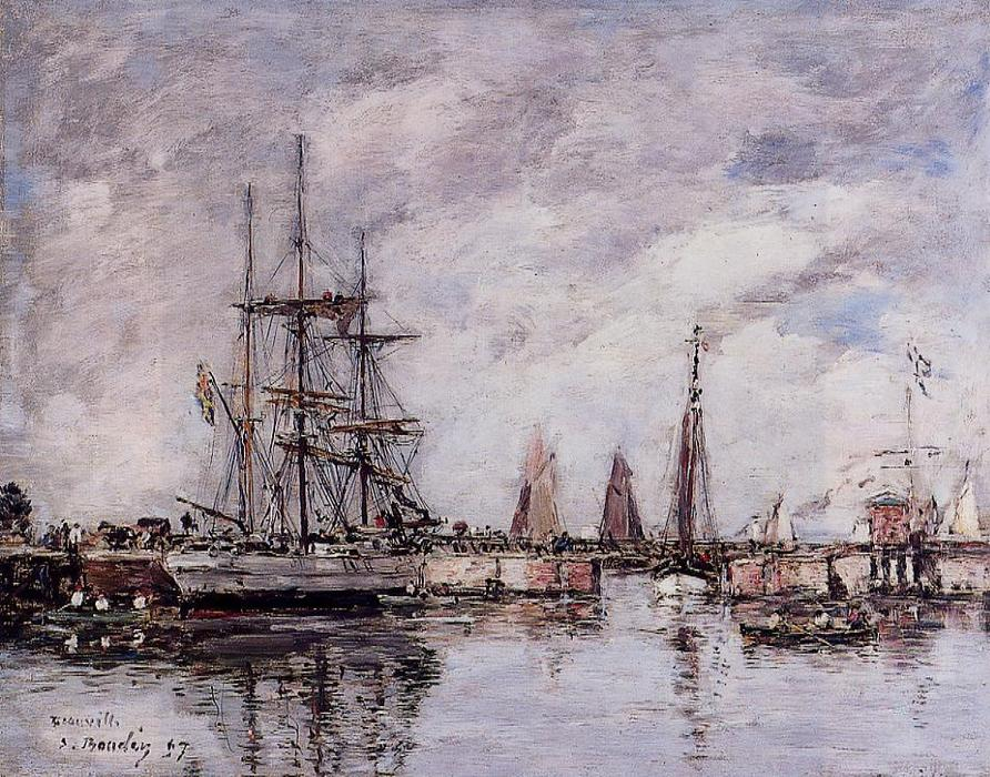 famous painting Deauville, Norwegian Three-Master Leaving Port of Eugène Louis Boudin
