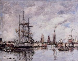 Eugène Louis Boudin - Deauville, Norwegian Three-Master Leaving Port