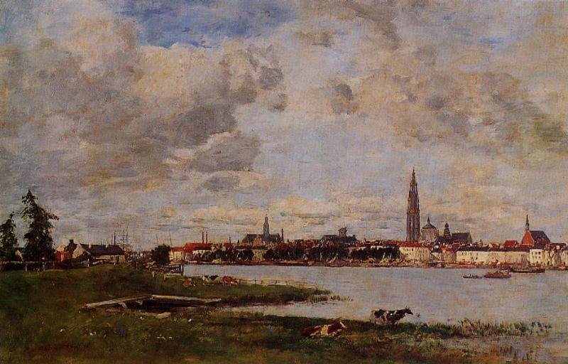 famous painting Antwerp, the head of Flanders of Eugène Louis Boudin