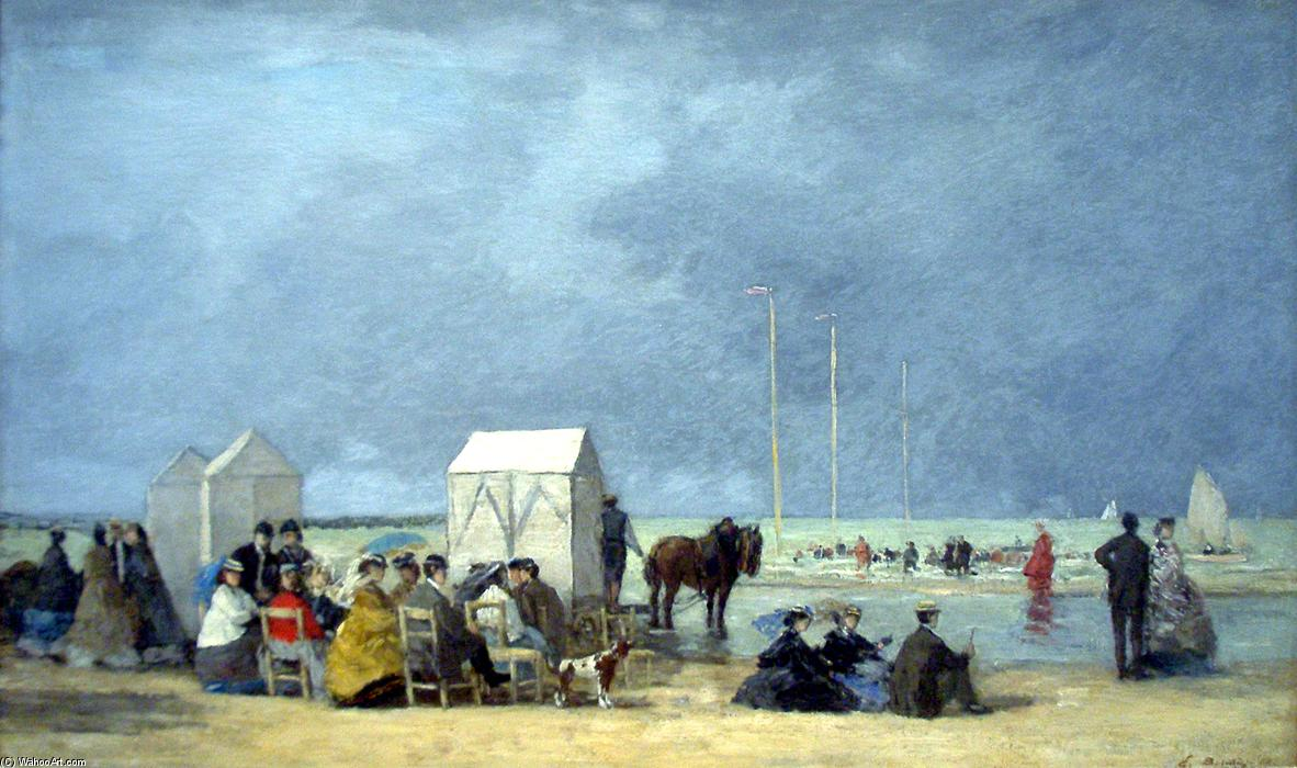 famous painting Bathing time at Deauville of Eugène Louis Boudin