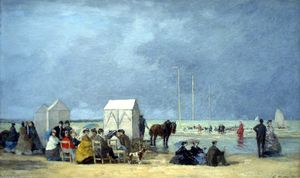 Eugène Louis Boudin - Bathing time at Deauville