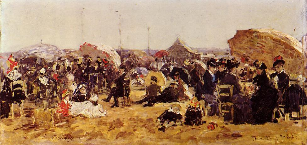 famous painting Beach at Trouville of Eugène Louis Boudin