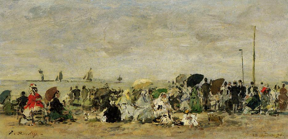 famous painting Beach Scene at Trouville of Eugène Louis Boudin