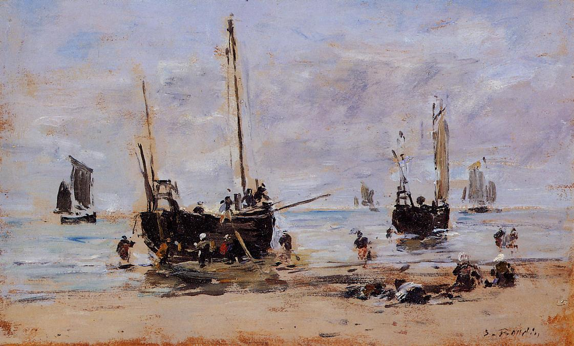 famous painting Berck, Fishermen at Low Tide of Eugène Louis Boudin