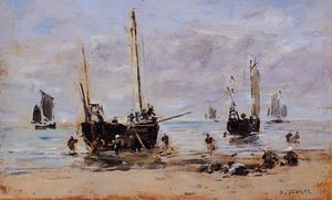 Eugène Louis Boudin - Berck, Fishermen at Low Tide