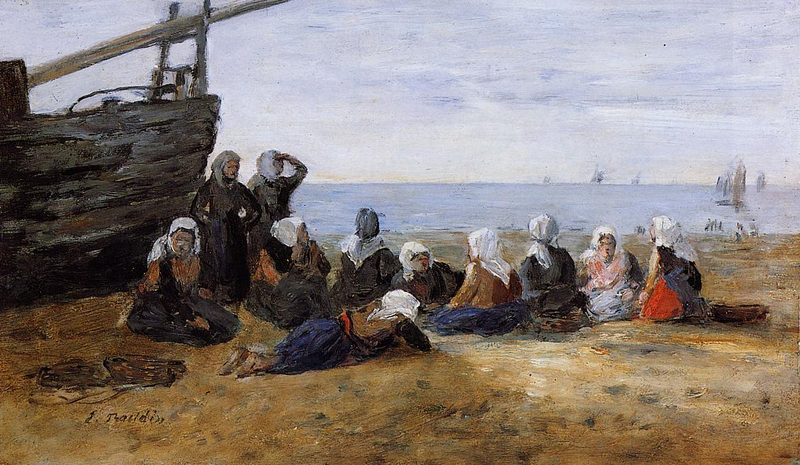 famous painting Berck, Group of Fishwomen Seated on the Beach of Eugène Louis Boudin