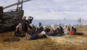 Eugène Louis Boudin - Berck, Group of Fishwomen Seated on the Beach