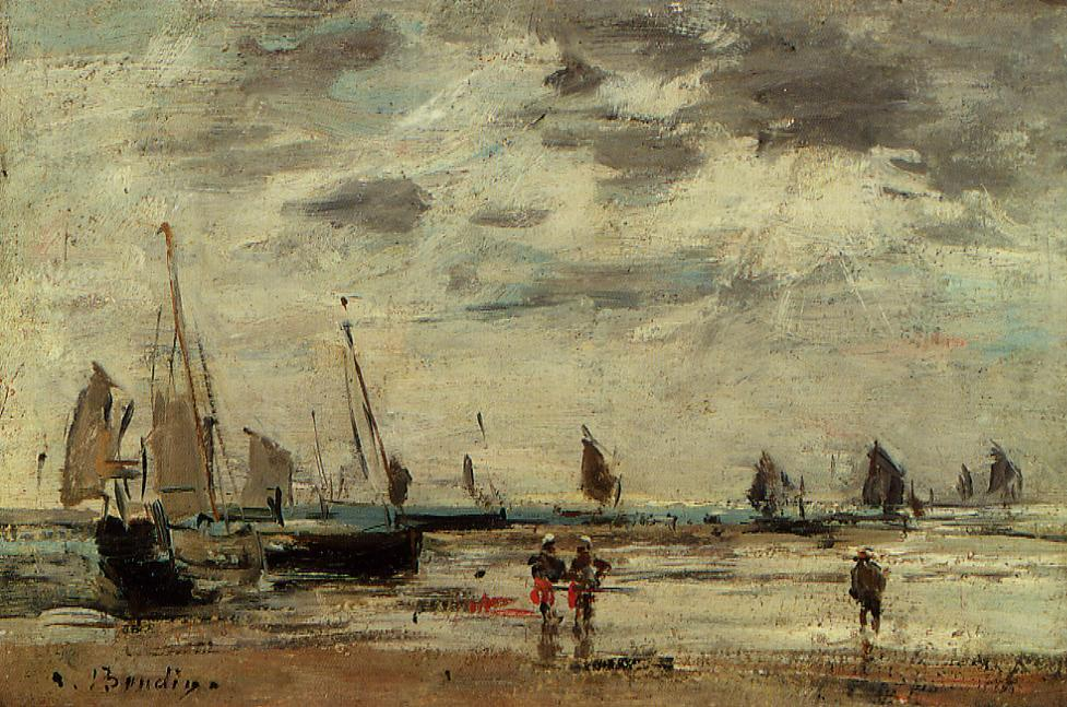 famous painting Berck, Jetty and Sailing Boats at Low Tide of Eugène Louis Boudin