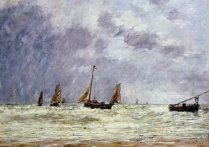 Eugène Louis Boudin - Berck, the Departure of the Boats