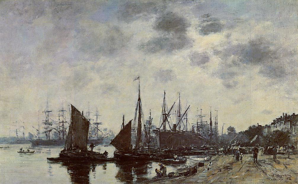 famous painting Bordeaux, Bacalan, View from the Quay of Eugène Louis Boudin