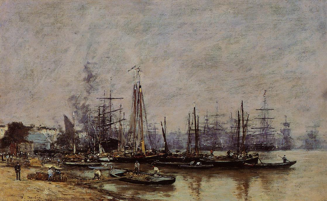 famous painting Bordeaux, the Port of Eugène Louis Boudin