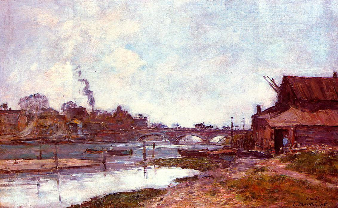 famous painting Bridge on the River Touques at Deauville of Eugène Louis Boudin