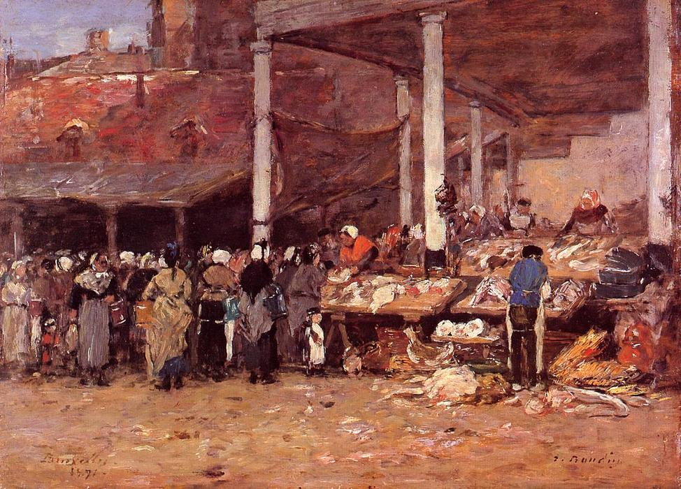 famous painting Brussels - the Old Fish Market of Eugène Louis Boudin