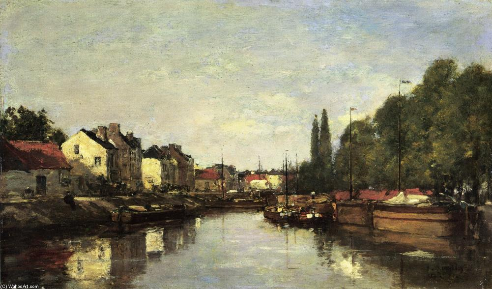 famous painting Brussels, the Louvain Canal of Eugène Louis Boudin