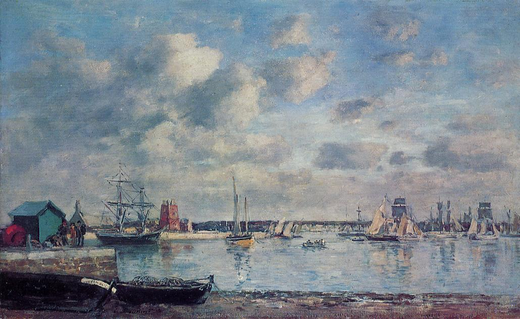 famous painting Camaret, Boats in the Harbor of Eugène Louis Boudin