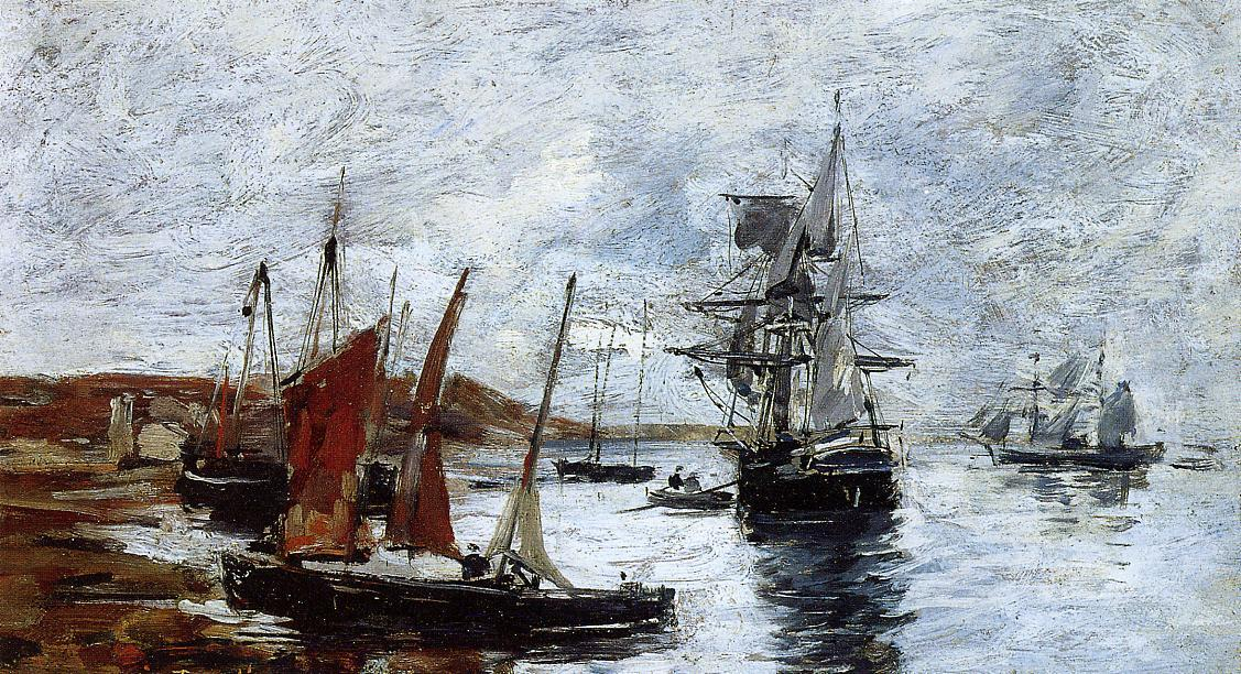 famous painting Camaret, Boats on the Shore of Eugène Louis Boudin