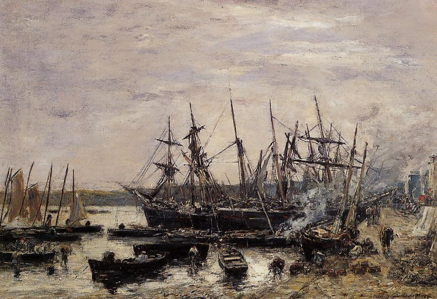 famous painting Camaret, Fishing Boats at Dock of Eugène Louis Boudin