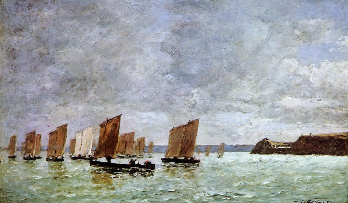 famous painting Camaret, Fishing Boats off the Shore of Eugène Louis Boudin