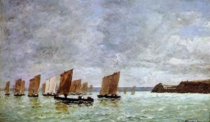 Eugène Louis Boudin - Camaret, Fishing Boats off the Shore