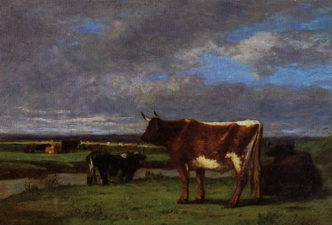 famous painting Cows near the Toques of Eugène Louis Boudin
