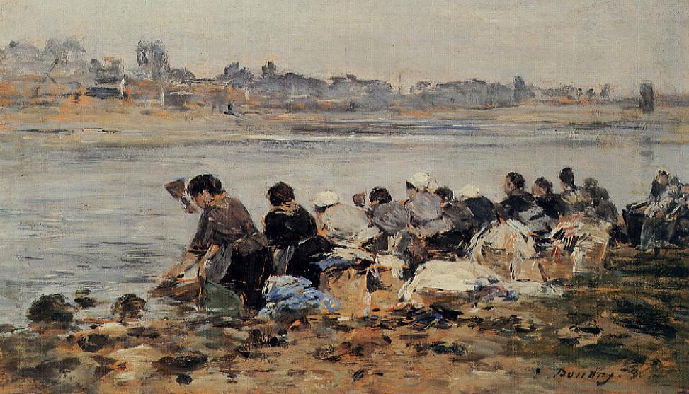 famous painting Laundresses on the Banks of the Touques (11) of Eugène Louis Boudin