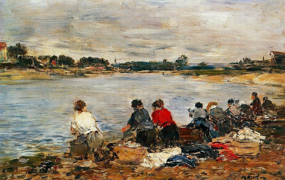 famous painting Laundresses on the Banks of the Touques (12) of Eugène Louis Boudin