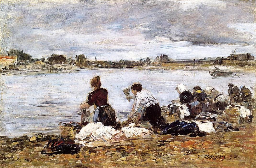 famous painting Laundresses on the Banks of the Touques (14) of Eugène Louis Boudin