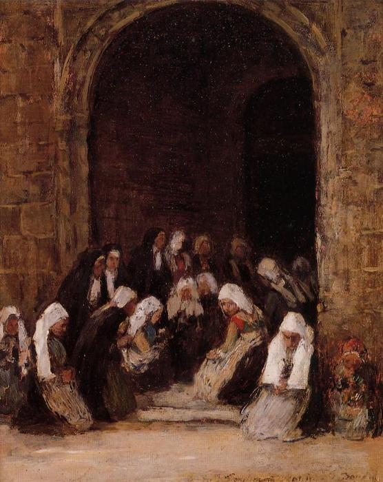 famous painting Leaving Mass in Brittany of Eugène Louis Boudin