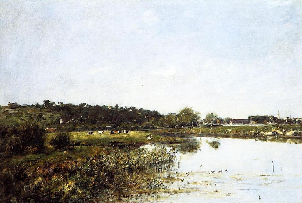 famous painting On The Banks of the Touques of Eugène Louis Boudin