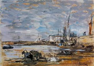 Eugène Louis Boudin - Port at Low Tide