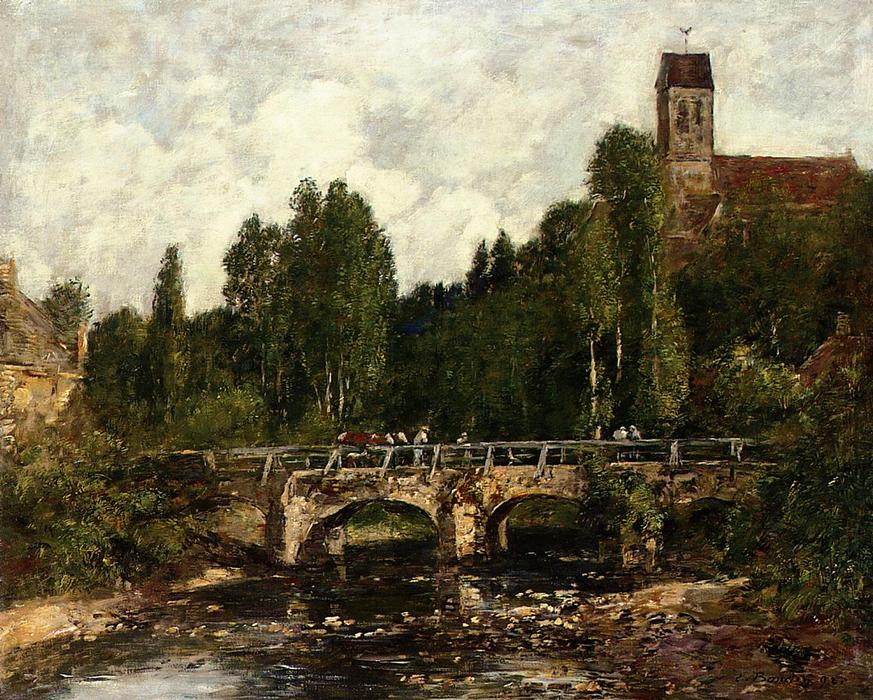 famous painting Saint-Cenery, the Church and the Bridge of Eugène Louis Boudin