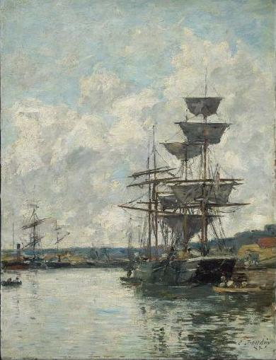 famous painting Ships at Le Havre of Eugène Louis Boudin