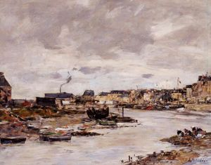 Eugène Louis Boudin - The Inner Port of Trouville at Low Tide