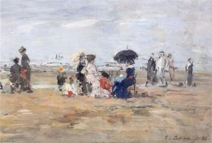 Eugène Louis Boudin - Trouville, scene on the beach