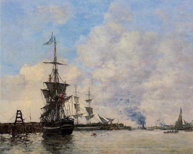 famous painting Le Havre. Avent Port. of Eugène Louis Boudin