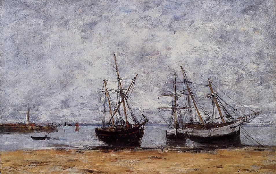 famous painting The port Portrieux at low tide of Eugène Louis Boudin