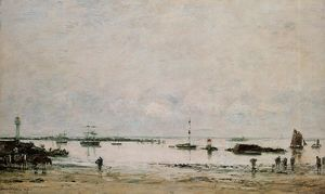 Eugène Louis Boudin - The port Portrieux at low tide