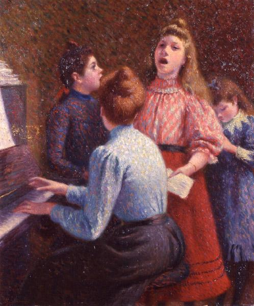 famous painting The Singing Lesson of Federico Zandomeneghi