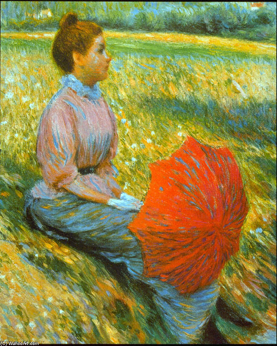 famous painting Lady in a Meadow of Federico Zandomeneghi